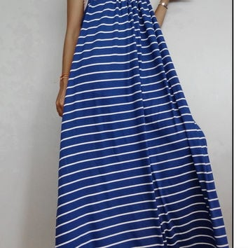 Women Maxi Spaghetti Long Dress ,Casual Gypsy Bohemian Dress , Striped White Blue In Cotton Blend (Dress*4).