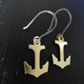 Brass and Sterling Silver Anchor Earrings by SugarandSoySauce