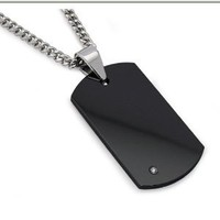 "Men's Black Tungsten Carbide Dog Tag with Diamond 22"" Steel Curb Link Chain"