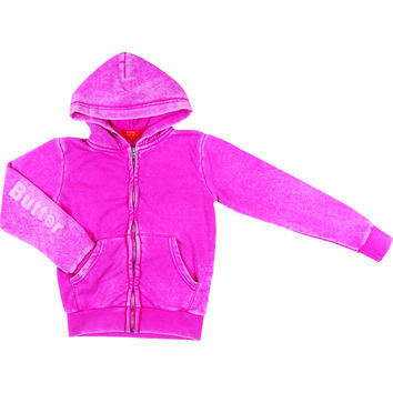 "Butter GIRLS ""BUTTER BEAR"" BURNOUT ZIP HOODIE - Pink"