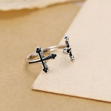 925 Silver Cross Ring Accessory Korean Rack [7652921991]