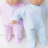 "HANDMADE CLOTHES, baby doll, FITS 15"" bitty baby twins, blue & pink pajamas"