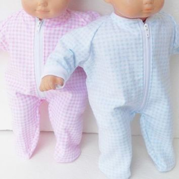"""HANDMADE CLOTHES, baby doll, FITS 15"""" bitty baby twins, blue & pink pajamas"""