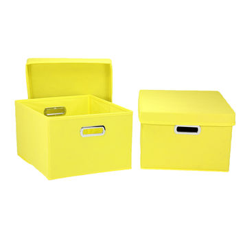 Fabric Storage Boxes Removable Lids Sturdy Organization Collapsible 2pack Yellow