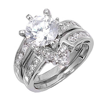 Sterling Silver CZ 3 carat Brilliant Round Cut Channel Set Wedding Ring Set 5-10