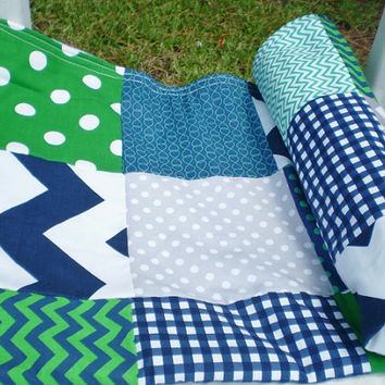 Baby blanket,Patchwork Baby blanket,baby boy bedding,baby girl quilt,rustic,grey,navy blue,green,chevron,nursery,crib,toddler,dots,nautical
