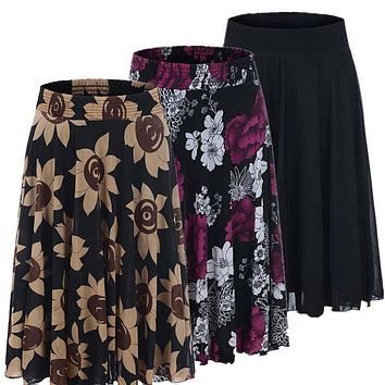 2017 New Summer Skirts for women Plus size female ice silk skirt mother clothes