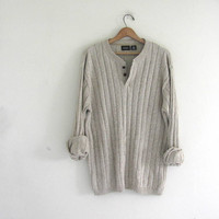 vintage slouchy sweater. oversized off white sweater. henley pullover shirt. size XL