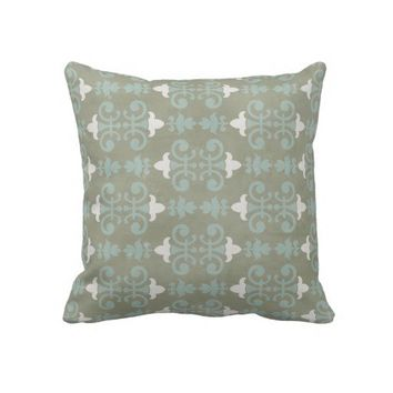 Gray & Blue Decorative Damask Throw Pillow from Zazzle.com