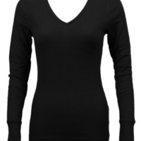 Ladies Black Long Sleeve Thermal Top V-Neck