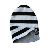 Baby Slouchy Beanie - Reversible - Black & White Stripe - Gray - Baby and Toddler Hat - Boys - Accessories
