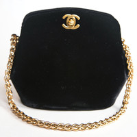 Chanel black velvet handbag presented by funkyfinders