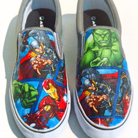 Marvel II-Mens Slip On-Hulk-Comic book-Hawkeye-Captain America-Iron Man-Spiderman-Black Widow-Custom Decoupage Shoes-boyfriend gift-
