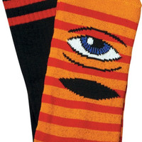 Toy Machine Sect Eye Stripe Crew Socks Orange/Red/Black 1 Pair
