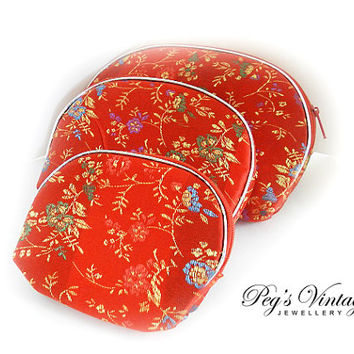 Vintage Red Silk Make Up Bags//Cosmetic Bags With Floral Embroidered Asian Print Design//Set Of Three