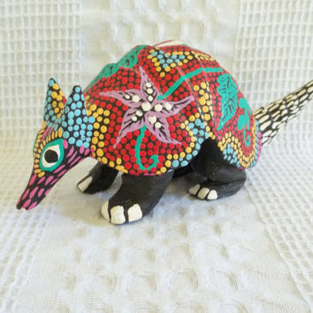 Vintage wooden armadillo hand carved hand painted wood tribal mexican folk art colorful dots leaves flowers signed Armando Carrillo Arrazola