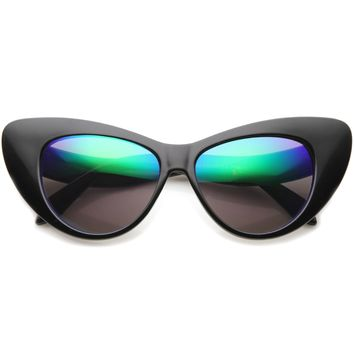 Women's Colorful Rounded Cat Eye Mirrored Lens Sunglasses A077