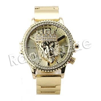 HIP HOP ICED OUT RAONHAZAE LION FACE LUXURY GOLD FINISHED LAB DIAMOND WATCH