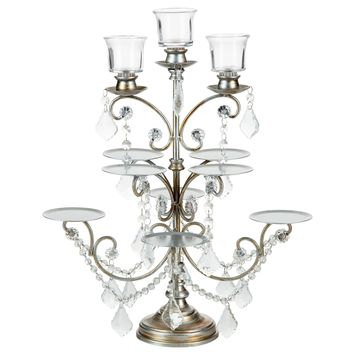 8-Piece Cupcake Stand with 3 Candle Holders (Silver)