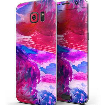 Splatter Blue and Red Oil - Full Body Skin-Kit for the Samsung Galaxy S7 or S7 Edge
