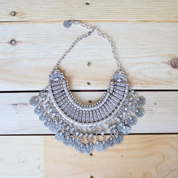 Antalya Turkish Coin Collar Necklace in Silver