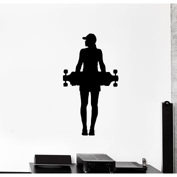 Wall Decal Skateboarder Sport Girl Skate Silhouette Vinyl Sticker (ed1341)