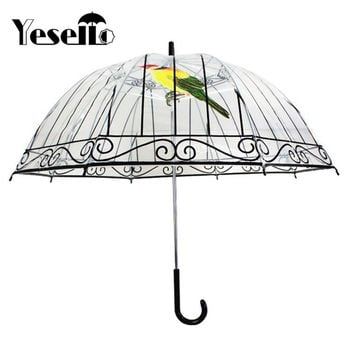 Yesello 1PCS Plastic EVA Transparent Umbrellas Cute Bird Cage Parasol Long-handle Rainy Clear Bubble Umbrella For Women