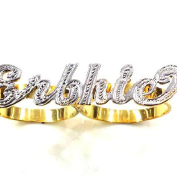Personalized 14k Gold Overlay Any Name 2 Finger Ring/two Finger Name Ring/c1