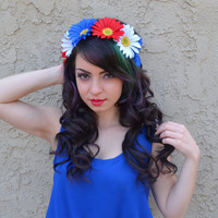 Red White Blue Daisy Headband