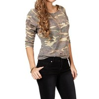 Olive Camo Print Distressed Sweater