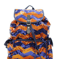 "Navy Blue & Orange 14"" Chevron GLITTER SEQUIN BACKPACK Tote Bag"