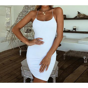 Summer new women's sexy halter straps solid color strap skirt