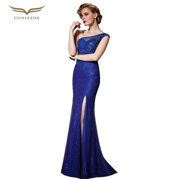 Coniefox 30860 Cut Out Blue Lace Evening Gowns One Shoulder Slit Robe De Soiree Gown Real Photo Designer Occasion Dress