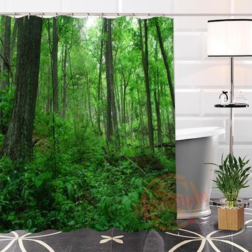 Best Nice Custom Rain Forest Plant Tree Shower Curtain Bath Curtain Waterproof Fabric For Bathroom MORE SIZE WJY#57