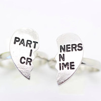 Partners in crime ring, best friends ring, best friends jewelry