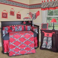 SISI Baby Bedding -Hot Pink Zebra 13 PCS Crib Bedding