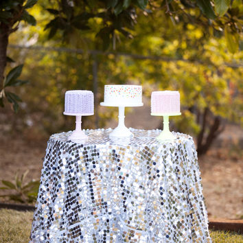 Silver Circle Sequin Tablecloth custom sizes available