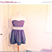70%OFFsale Strapless lace and jean dress. Short. mini.