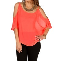 Neon Coral Rhinestone Cold Shoulder Top