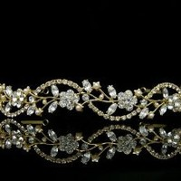 Bridal Flower Rhinestones Crystal Wedding Headband Tiara (Faux Pearls Gold Plated)