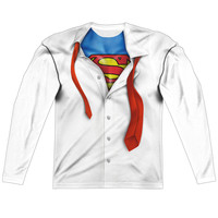 Superman Clark Kent Sublimated Mens Long Sleeve Costume T-Shirt