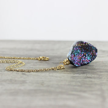 Metallic Necklace, Rainbow Gemstone Necklace, Druzy Quartz Necklace, Gold Filled Necklace, Wire Wrap Necklace, Drusy Necklace