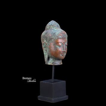 "Bronze Buddha Head On Stand 8.5"" Blessing Enlightened Buddha;Perfect Balance Of Thought, Rest Of Senses, Tranquil Serene Zen Home Display"