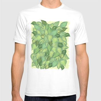 Citric Hostas, leaves arrangement in a tower shape T-shirt by Camila Quintana S