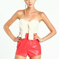 BOW LEATHERETTE ROMPER