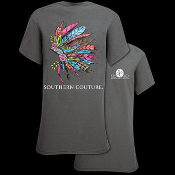 Southern Couture Preppy Painted Headdress Feathers T-Shirt