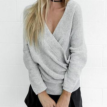 Streetstyle  Casual Grey Bandeau Off Shoulder Backless Oversize Casual Pullover Sweater