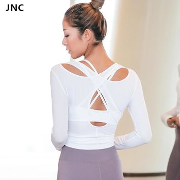 Women Cross Back Yoga Top Shirts White Backless Workout Tops for Women Long Sleeve Sports Crop Top Gym Workout Activewear 2018