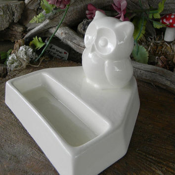 Owl business card holder office desk decor white ceramic glazed White Snow Barn Owl cm