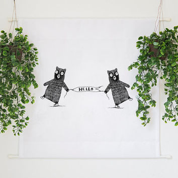 Hello Bears Illustration Large Wall Nursery Decor Tapestry Wall Hanging Banner Children's Room Home Decor Wall Art